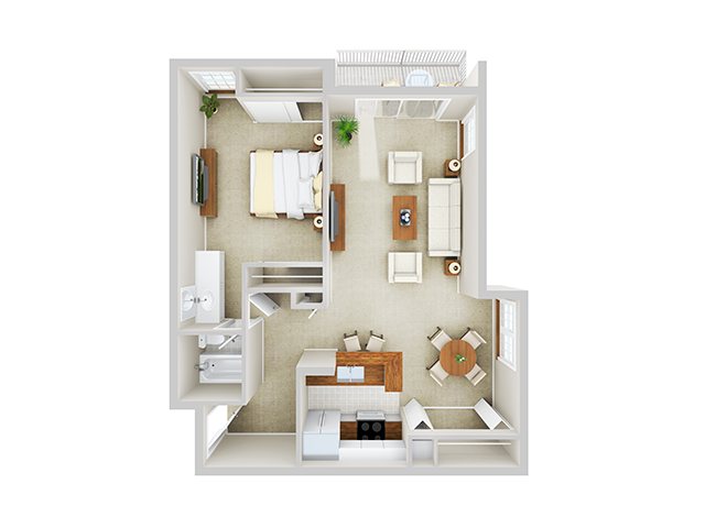1 Bedroom, 1 Bath - Corner floor plan Mason at Van Dorn Alexandria