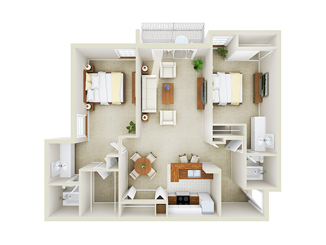 2 Bedroom, 2 Bath - Corner floor plan Mason at Van Dorn Alexandria