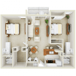 2 Bedroom, 2 Bath floor plan Mason at Van Dorn Alexandria