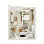 1 Bedroom, 1 Bath floor plan Mason at Van Dorn Alexandria
