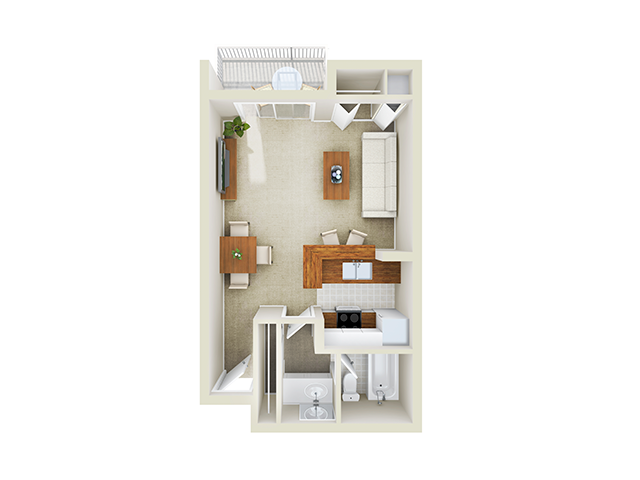 Studio floor plan Mason at Van Dorn Alexandria